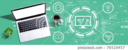 Web development concept with a laptop computer 76520457
