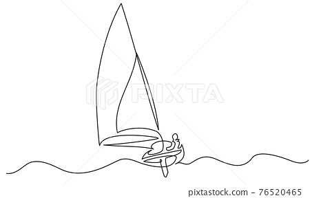 Sailing boat on wave of sea. Continuous one line drawing 76520465