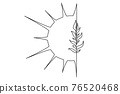 Sun and branch of plant. Continuous one line drawing. 76520468