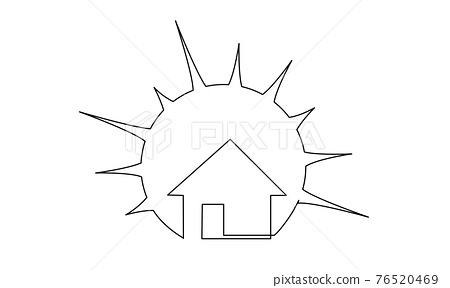Real estate house sale agency icon with Sun. Continuous one line drawing 76520469