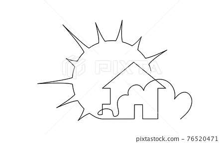 Real estate house sale agency icon with Sun. Continuous one line drawing 76520471
