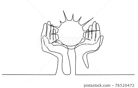 Human Hands palms together holding Sun. Continuous one line 76520472
