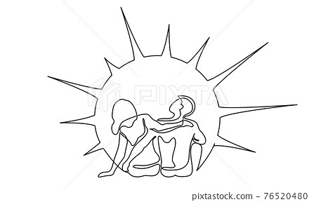 Loving happy couple woman and man sitting and watching sunshine or sunrise. 76520480