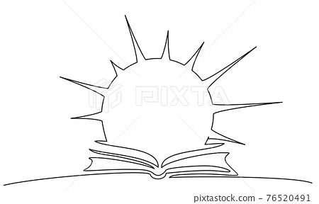 Opened book with Sun over pages. Symbol of Learning 76520491