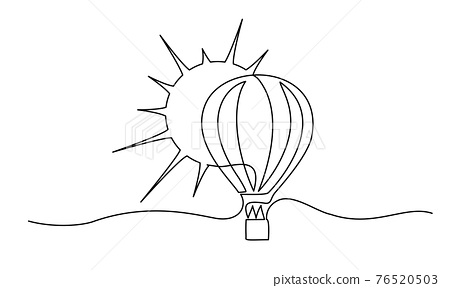 Air balloon with sun. Symbol of happiness, travel and relaxation. 76520503