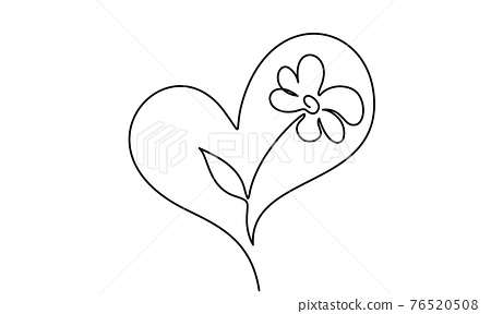 Flower inside heart. Symbol of love, care and happiness 76520508