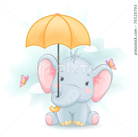 Cute little elephant. Funny cartoon character 76520793