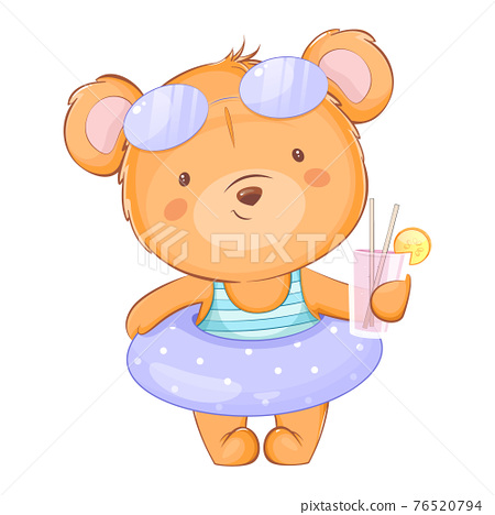 Cute little bear in a swimsuit holding juice 76520794