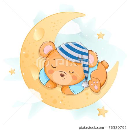 Cute little bear sleeping on the moon 76520795