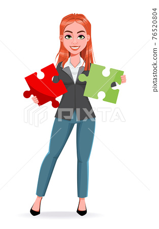 Beautiful business woman holding puzzle 76520804