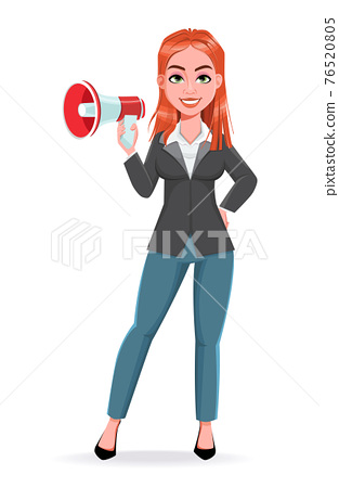 Beautiful business woman making announcement 76520805