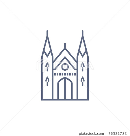 Cathedral line icon - catholic chapel simple linear pictogram on white background. Vector illustration. 76521788