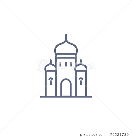 Church line icon - orthodox chapel simple linear pictogram on white background. Vector illustration. 76521789