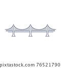 Bridge line vector icon - suspension bridge simple pictogram in linear style on white background. Vector illustration. 76521790