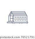 Barn house line icon - village house or wooden cabin in linear style on white background. Vector illustration. 76521791