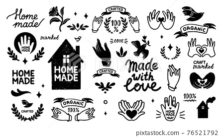 Homemade vector icons set - vintage elements in stamp style and home made lettering with cute house silhouette. Vintage vector illustration for banner and label design. 76521792