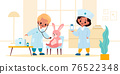 Kids playing doctor. Boy and girl in medical uniform treat and examine toy rabbit in room, therapists with pills and stethoscope, children hospital role-playing game vector cartoon concept 76522348