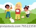 Petting zoo. Children take care rabbits in green clearing, kids play and contact small animals outdoor, boys and girls feed hares with carrots, summer landscape. Vector cartoon concept 76522358