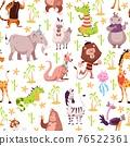 Childish animals seamless pattern. Cute summer wild fauna background, kids jungle wildlife cartoon safari zoo tropical nursery decoration. Decor textile wrapping paper wallpaper vector print 76522361