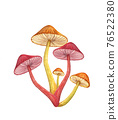 Magic mushroom bunch isolated on white background. Neon red glowing toadstool 76522380