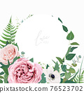 Stylish vector floral watercolor wedding invite, greeting card, save the date card design template. Dusty pink, mauve rose flowers, white anemone, eucalyptus leaves, greenery, green fern wreath, frame 76523702