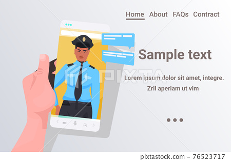 human hand using smartphone chatting with policeman during video call online communication concept portrait horizontal copy space vector illustration 76523717