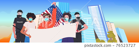 pollice officers with mix race protesters in masks holding empty banner labor day celebration coronavirus quarantine 76523727