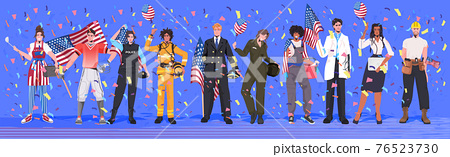 mix race people of different occupations holding USA flags labor day celebration concept 76523730