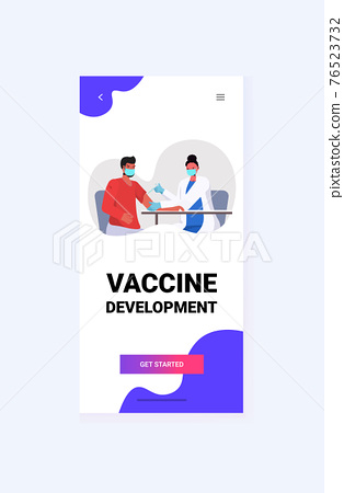 female doctor in mask vaccinating male patient fight against coronavirus vaccine development concept 76523732