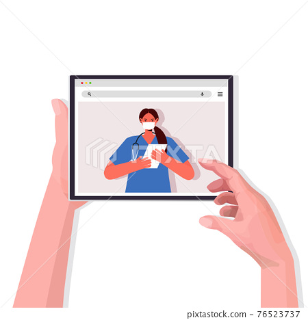 patient discussing with doctor during video call online medical consultation coronavirus quarantine self isolation 76523737