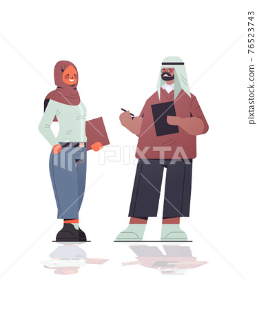 arabic businesspeople in formal wear discussing during meeting arab business people standing together 76523743