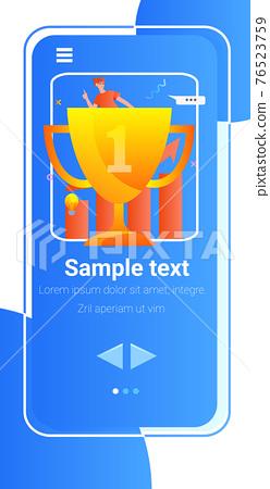 successful businessman on golden trophy cup finance success victory concept vertical copy space 76523759