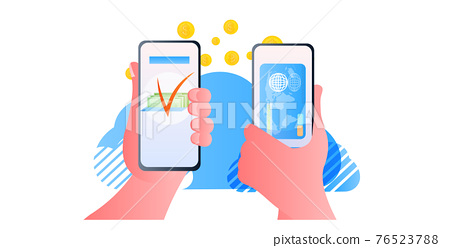 human hands sending dollar coins via smartphones online money transfer payment financial transactions 76523788