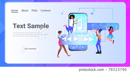 people communicating in instant messenger by voice messages audio chat application social media 76523790