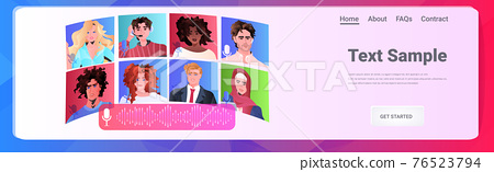 mix race people communicating by voice messages audio chat application social media communication concept 76523794