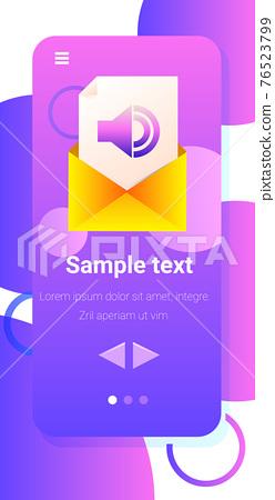 voice message audio letter in envelope instant messenger audio chat application online communication concept 76523799