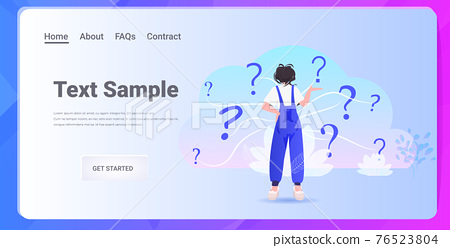 frustrated woman looking at question marks horizontal full length rear view horizontal 76523804