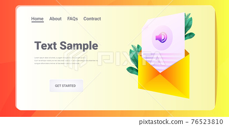 voice message audio letter in envelope instant messenger audio chat application online communication concept 76523810