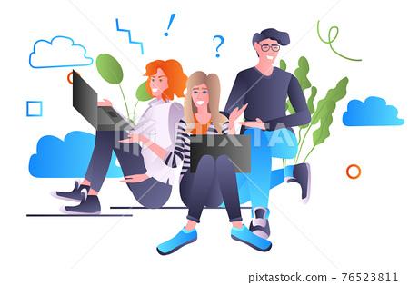 friends using laptops social media communication concept full length horizontal 76523811