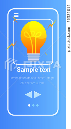 light bulb on smartphone screen startup new creative idea creativity concept vertical 76523812