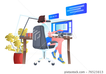 woman sitting at workplace and using computer chat bubble communication concept full length 76523813