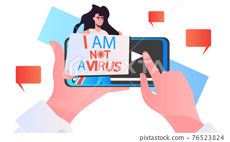 stop asian hate woman with banner against racism on smartphone screen support people during coronavirus 76523824