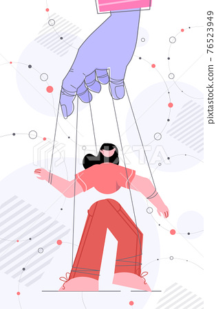 hand of puppeteer holding businesswoman on leash manipulation control concept 76523949