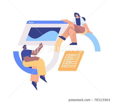 mix race developers creating website ui interface web application development program software optimization 76523964