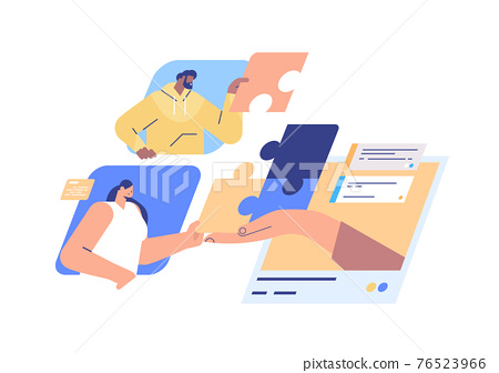 businesspeople putting together puzzle pieces teamwork concept horizontal portrait 76523966