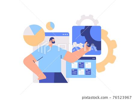 businessman analyzing financial data statistics business man finding new ideas creative working process 76523967