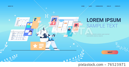 people chatting with chatbot robotic assistant online communication artificial intelligence technology concept 76523971