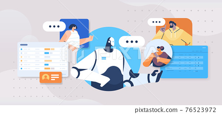 people chatting with chatbot robotic assistant online communication artificial intelligence technology concept 76523972