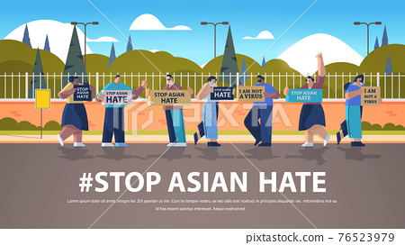 stop asian hate people protesting in park against bullying and racism support during covid-19 pandemic 76523979