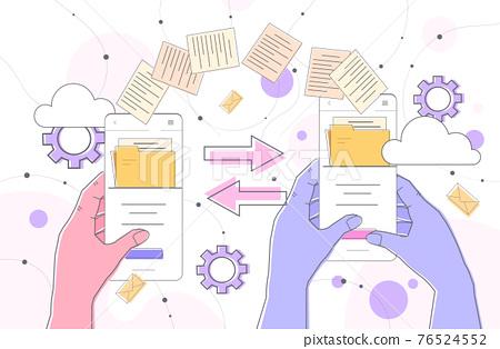 hands sending and receiving document folders via smartphones copy transfer exchange file sharing concept 76524552